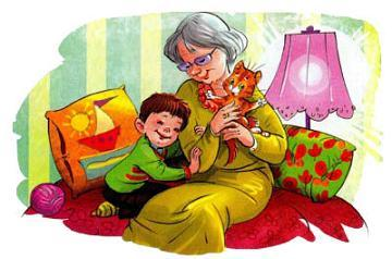 Мишка и его бабушка с котенком