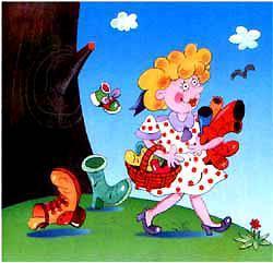 Мама по саду пойдёт, Мама с дерева сорвёт Туфельки, сапожки, Новые калошки.