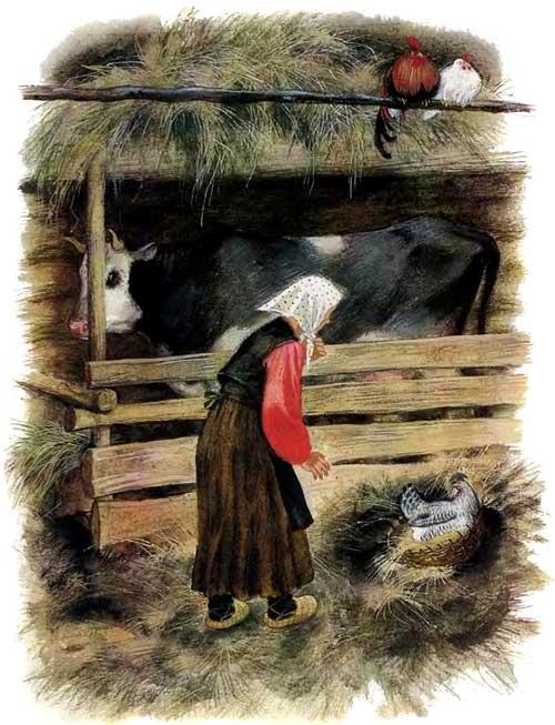 бабка и курица высиживает Чужое яичко