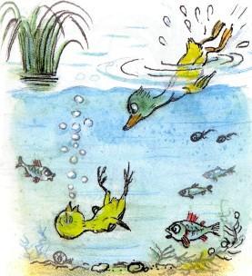 цыпленок под водой тонет буль буль