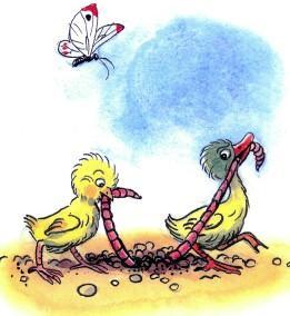 цыпленок и утенок поймали червяка