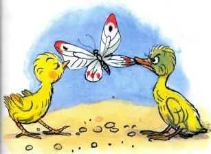 цыпленок и утенок поймали бабочку