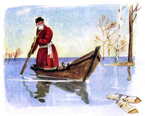 Дедушка Мазай на лодке