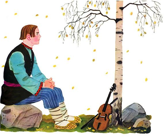 молодой музыкант и скрипка