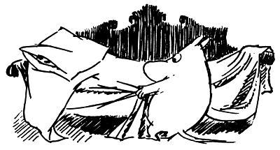 Муми-тролль расправляет постель