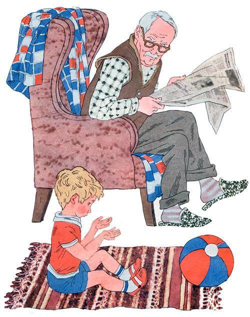 дедушка в кресле с газетой и маленький внук играет