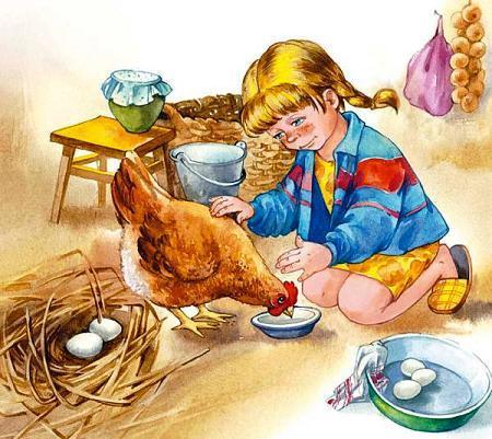 девочка кормит курочку