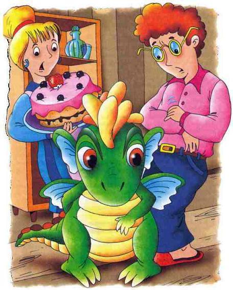 Дракоша и папа с мамой и тортом