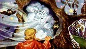 И пошел Иван-бедняк за Ветром вслед. Набрели на большущий дуб. ветер в дупло - и Иван в дупло.