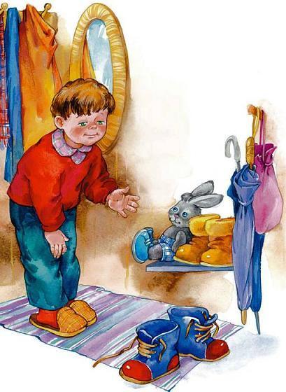 мальчик в прихожей и его ботинки