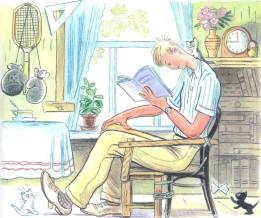 Дядя Стёпа читает книгу котята