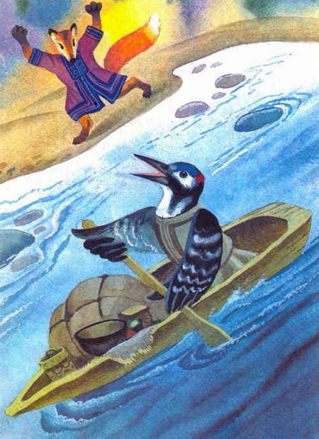 дятел плывет по реке на лодке лиса на берегу