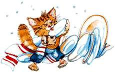 котенок моет посуду