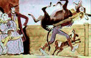 Джек-Простак несет осла на спине