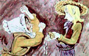 мать ругает Джека-Простака за разлитое молоко