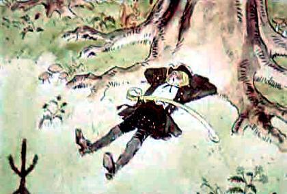 Джек - победитель великанов спит под деревом