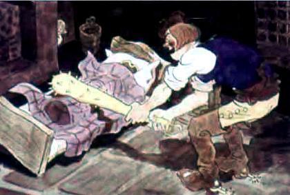 великан бьет дубиной по кровати где спит Джек