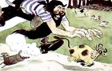 великан бежит за коровой