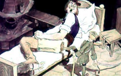 Джек - победитель великанов толкает великана ногой
