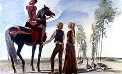 Джоан и хромой гусопас и высокий красивый юноша на черном коне
