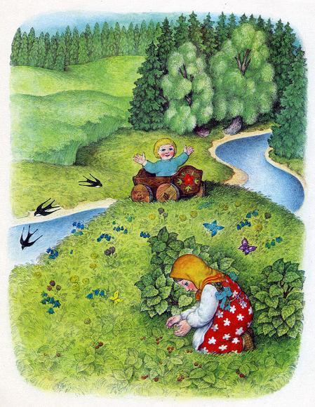 Егорка и Манюшка собирает ягоды