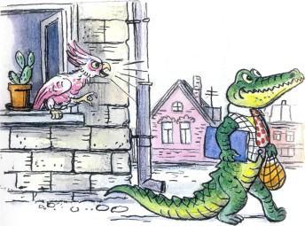 попугай в окне кричит крокодилу