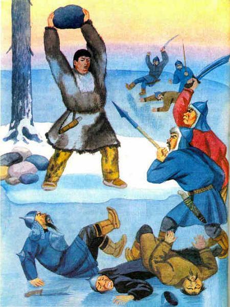 Эрмэчын-богатырь с огромным камнем разбрасывает врагов