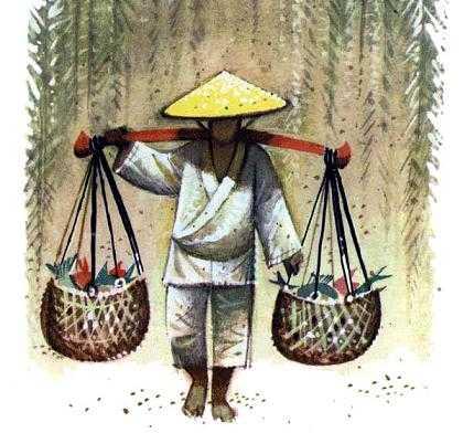 юноша Ванг-Сяо несет пойманную рыбу