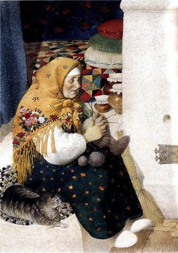 бабушка вяжет Филипку носки