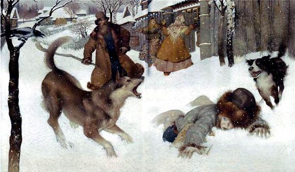 Филипок шел в школу на него напали собаки