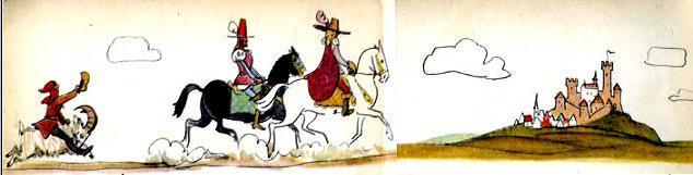 Ганс-Чурбан на козе догоняет братьев на конях