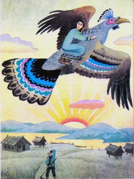 огромная птица уносит девушку