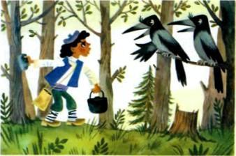 мальчишка и две вороны
