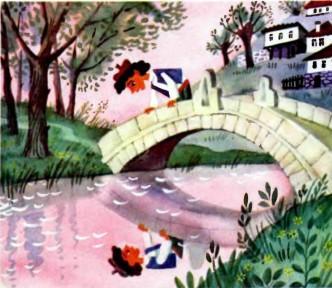мальчик Шишо на мосту отражение в воде