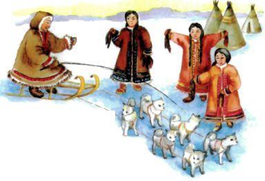 эскимосы и собачья упряжка