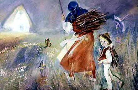 бедная женщина со своим сыном Гонзой