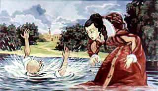 Горбатая принцесса сбросила нищего в воду