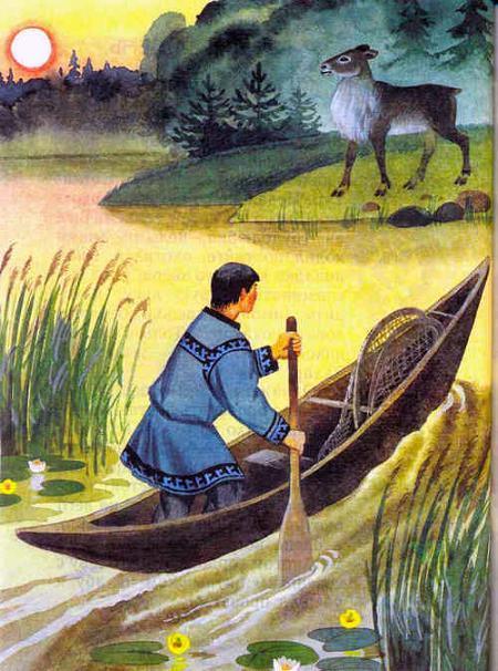 охотник на лодке и олень