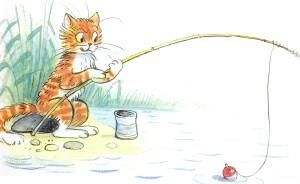 кот ловит рыбу на озере