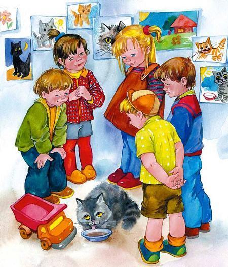 дети кормят котенка