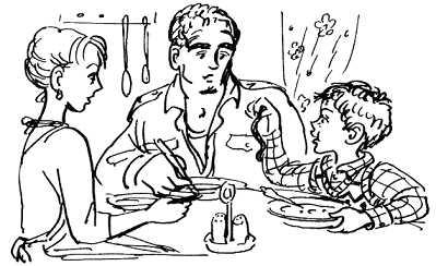 Дениска с папой за столом обедают всей самьей