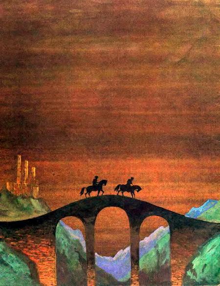 всадники на лошадях едути по мосту ночью