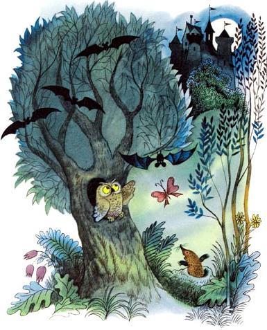 ночь лес замок летучие мыши сова