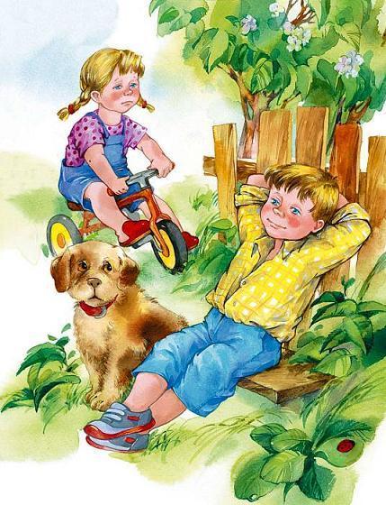 мальчик на лавочке сидит рядом девочка на велосипеде