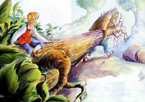 Великан шел впереди тащил огромное дерево портной уселся среди ветвей