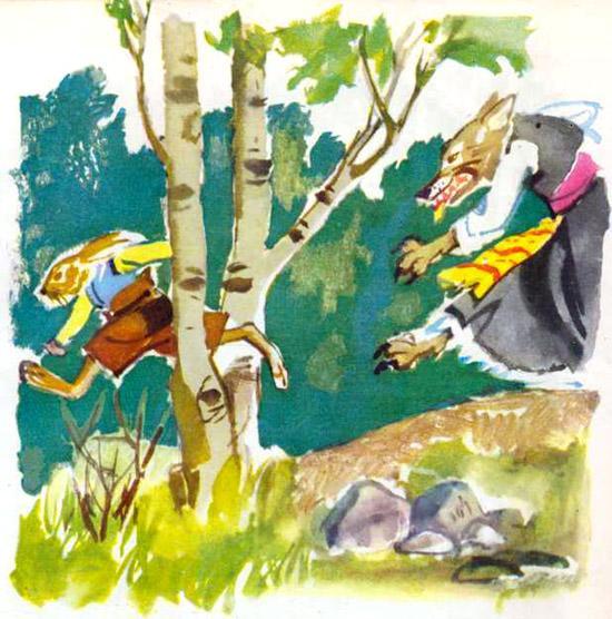 Храбрый заяц и волчица