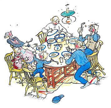 и мухи уже тут как тут! Расселись по столу и тоже желают обедать вместе со всеми.