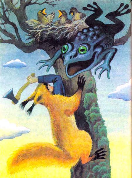 охотник в шкуре рыси карабкается на дерево к гнезду и огромная жаба