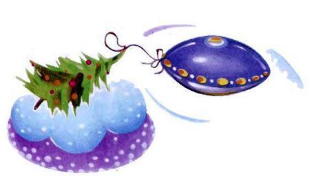 Новогодняя ёлка и инопланетный корабль тарелка