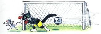 черный кот пропускает гол в ворота из за мышонка